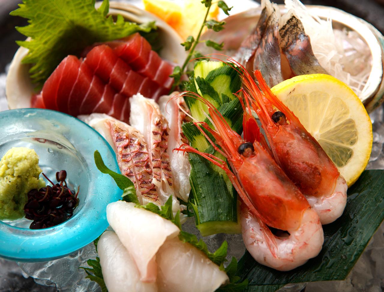 鬼ヶ島鮮魚3点盛り